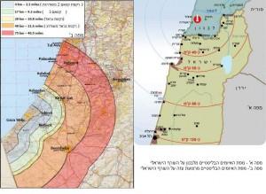 מפת האיומים הבליסטיים על ישראל מלבנון ורצועת עזה