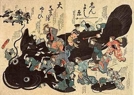 בתמונה רואים את נמאזו, המייצג את רעידת האדמה שהתרחשה בטוקיו ב-1855. ניתן לראות את האיכרים תוקפים אותו, כאשר ברקע מגיעים בעלי המלאכה להגן עליו מפניהם. בעלי המלאכה מרוויחים כסף מפעולות השיקום לאחר הרעידה.