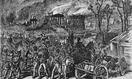 העיר וושינגטון נשרפת בידי חיילים בריטיים, 24-25/8/1814. תמונה: ספריית הקונגרס.