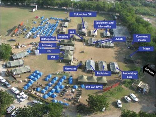 """צילום אווירי של פריסת בית חולים השדה הצה""""לי בהאיטי עם שמות המחלקות"""